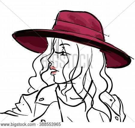 Stylish Young Lady Wearing Fashionable Clothes And Hat. Sketch Or Woman Portrait, Model With Makeup