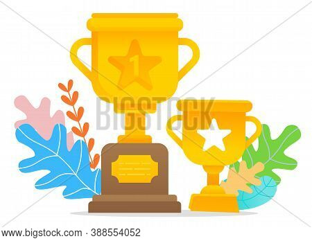 Two Golden Trophies With Leaves Isolated On White Background. Reward For Winner, Best In Competition