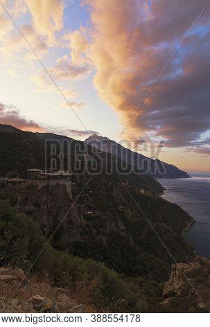 Summer Sunrise Mystique Of Mt. Athos Peninsula.