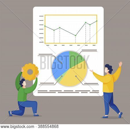 Two Men Stand Near Statistics Diagrams On Board. Project And It Metrics, Analytics Graphs. Guy Hold