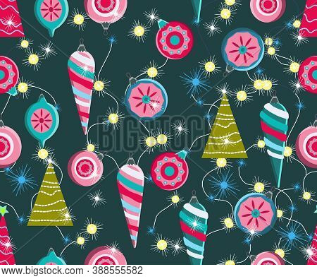 Christmas Seamless Pattern. Cute Vector Festive Background Woth Vintage Christmas Decorations, Stily