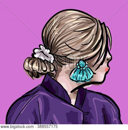 Female Character With Stylish Hairstyle And Accent Accessories. Woman Looking Back Showing Earrings