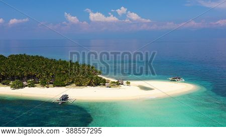 Landscape Of Tropical Island Beach With Perfect Sky. Island With A Tropical Beach And Turquoise Lago