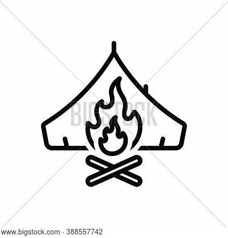 Black Line Icon For Survival Campfire Bonfire Fire Flame Warmth Cottage Tent