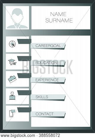 Mens Resume. Vector Template Summary. Design Creative, Professional Summary. Displaying Your Profile