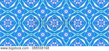 Folk Tribal Seamless Pattern. Abstract Geometric Peruvian Ethnic Texture. Blue And White Colors. Vin
