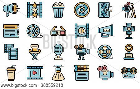 Cinematographer Icons Set. Outline Set Of Cinematographer Vector Icons Thin Line Color Flat On White