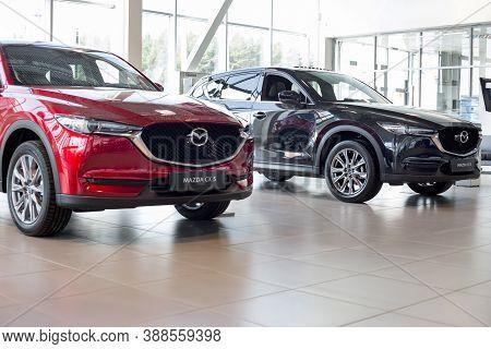Russia, Izhevsk - August 06, 2020: New Prestigious Cx-5 Cars In The Mazda Showroom.