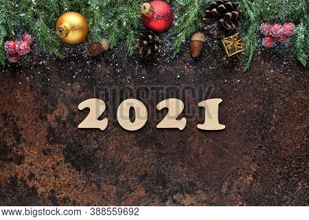 Happy New Year Festive Background With Wooden Numbers 2021 And Christmas Decorations On Stone Surfac