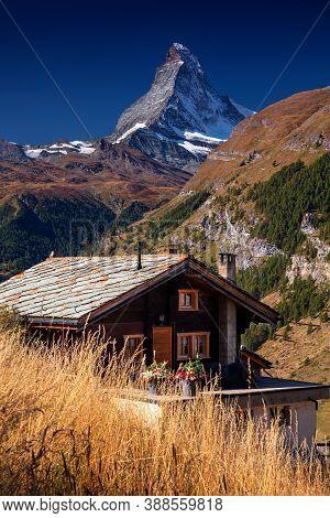 Matterhorn, Swiss Alps. Landscape Image Of Swiss Alps With The Matterhorn During Beautiful Autumn Su