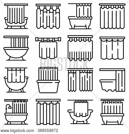 Shower Curtain Icons Set. Outline Set Of Shower Curtain Vector Icons For Web Design Isolated On Whit