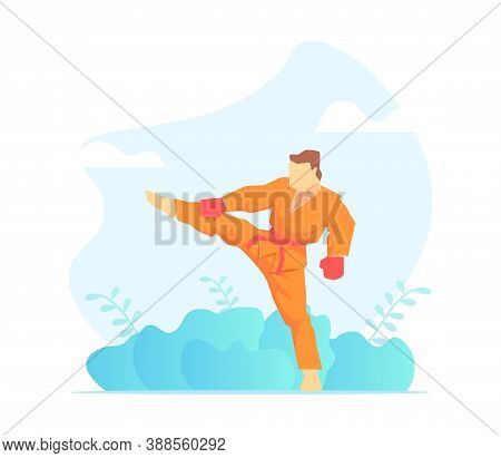 Asian Martial Arts Fighter, Wushu Fighter Character Vector Illustration