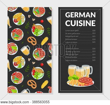 German Cuisine Menu Template, Traditional Bavarian Food Restaurant, Bar, Cafe Menu Design Vector Ill