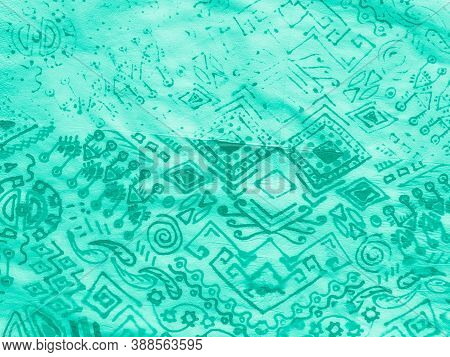 Indian Floral Style. White Damask Medallion. Hippie Batik. Green Indian Floral Style. Neo Mint Geo E