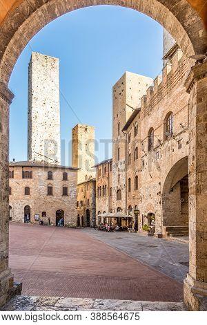 San Gimignano,italy - September 6,2020 - View At The Duoma Place In San Gimignano. San Gimignano.san