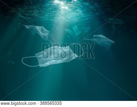 Overuse of medical masks pollution underwater