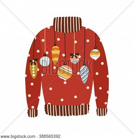 Cute Red Comfortable Sweater Decorated With Christmas Tree Baubles And Toys Vector Flat Illustration