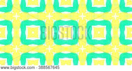 Seamless Printed Flannel Checks. Abstract Ethnic Print. Hand Drawn Tribal Wallpaper. Tie-dye Aquarel