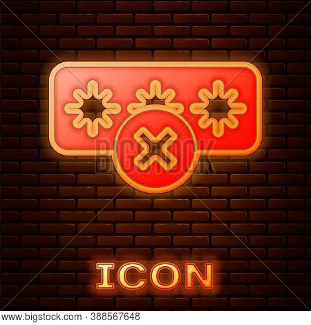 Glowing Neon Password Protection And Safety Access Icon Isolated On Brick Wall Background. Security,