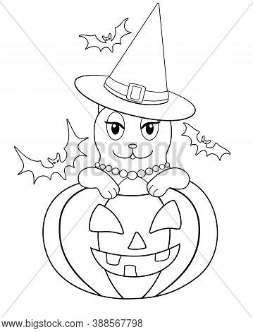 Cat - Witch Celebrates Halloween - Vector Linear Illustration For Coloring. Coloring Page With A Cat