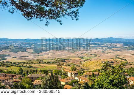 View To Countryside Near Voltera Town In Italy