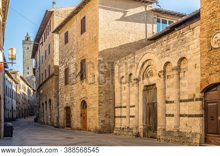 In The Streets Of Town San Gimignano In Italy
