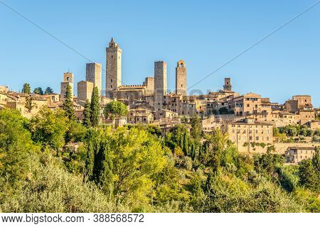 View At The Top Hill With Town Of San Gimignano In Italy