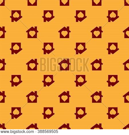 Red House With Heart Inside Icon Isolated Seamless Pattern On Brown Background. Love Home Symbol. Fa