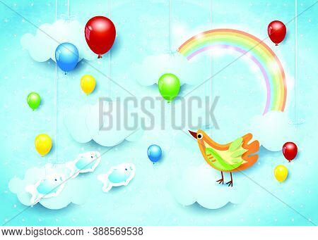 Surreal Cloudscape With Balloons, Bird And Flying Fishes, Vector Illustration Eps10