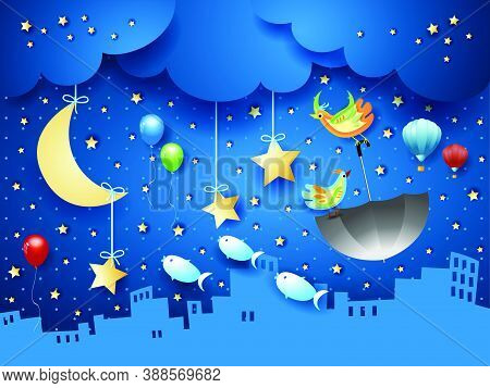Surreal Night With Urban Skyline And Flying Umbrella And Fishes. Vector Illustration Eps10