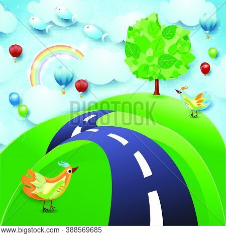 Surreal Landscape With Big Tree, Hill, Birds, Balloons And Flying Fishes. Vector Illustration Eps10
