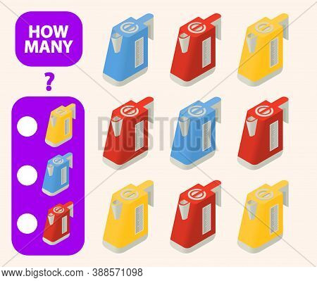 Count How Many Isometric Electric Kettle Is Educational Game.