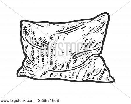 Rumpled Pillow Cushion Sketch Engraving Vector Illustration. T-shirt Apparel Print Design. Scratch B