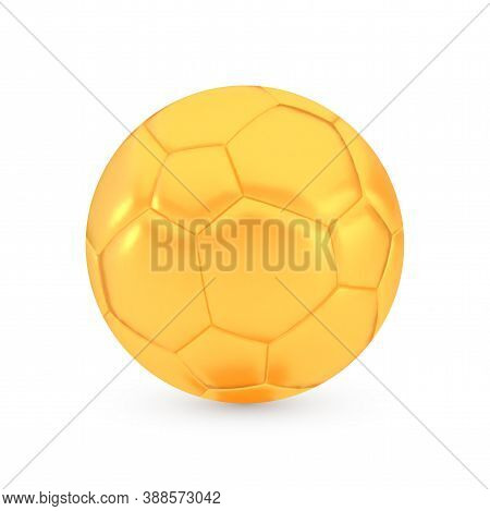 Golden Football Award Concept, Shiny Photo Realistic Metallic Soccer Ball, 3d Render With Soft Shado