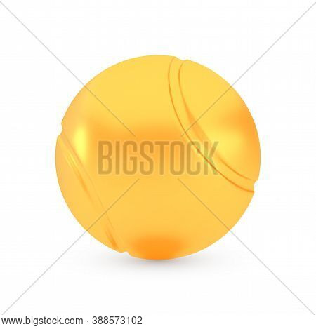 Golden Tennis Award Concept, Shiny Photo Realistic Metallic Ball, 3d Render With Soft Shadows And Re
