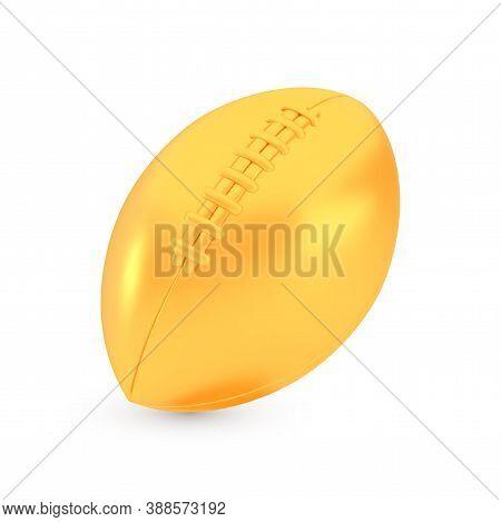 Golden American Football Award Concept, Shiny Photo Realistic Metallic Ball, 3d Render With Soft Sha