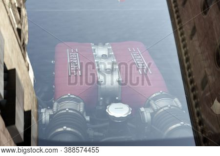 Hamburg, Germany - June 14, 2016: Stoplight Of A White Sports Car Ferrari 458 Spider Since 2011 . Fe