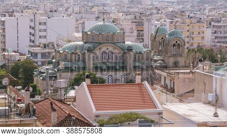 Cityscape Of Patras On Peloponnese In Greece View From The Historic Castle In The Cenre Of The City