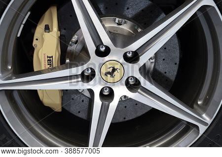 Hamburg, Germany - June 14, 2016: Wheel Of A White Sports Car Ferrari 458 Spider Since 2011 . Ferrar