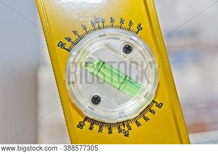 Measurement Degree And Angle. Construction Tool Of Metal Profile. Balance Instrument. Bubble Level T