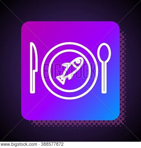 White Line Served Fish On A Plate Icon Isolated On Black Background. Square Color Button. Vector.