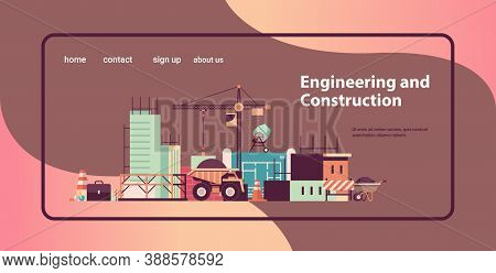 Home Building Engineering Concept Machines Constructing Houses Working On Construction Site Horizont