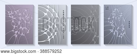 Pharmaceutical Healthcare Vector Covers With Neurons, Synapses. Bent Waves Torrent Textures. Colorfu