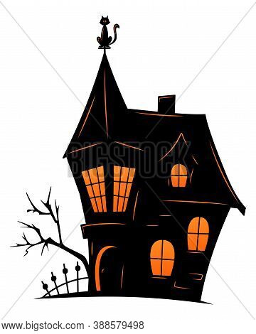 Haunted Old House For Halloween. Vector Silhouette Of Scary Old House. Mystical Spooky House With Wi