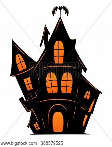 Haunted Old House For Halloween. Vector Silhouette Of Scary Old House. Mystical Spooky House With Ba