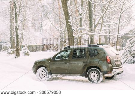 Gomel, Belarus - January 10, 2019: Renault Duster Or Dacia Duster Suv Parked In Snowy Forest. Duster