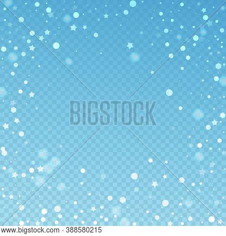 Magic Stars Random Christmas Background. Subtle Flying Snow Flakes And Stars On Blue Transparent Bac