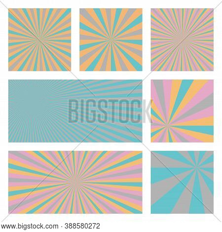 Amazing Sunburst Background Collection. Abstract Covers With Radial Rays. Superb Vector Illustration