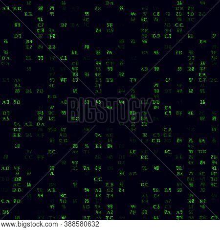 Random Symbols Pattern. Green Sparse Hexademical Pairs Seamless Pattern. Trendy Background. Stylish