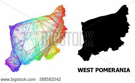 Net And Solid Map Of West Pomerania Province. Vector Structure Is Created From Map Of West Pomerania